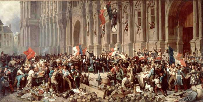 Lamartine in front of the Hôtel de Ville (i.e. City Hall), Paris, on 25 february 1848, refusing the red flag. - painting by Félix Philippoteaux credited to the web site of the Académie of Strasbourg.